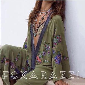 Olive embroidered Kimono Duster Jacket Coat Tunic